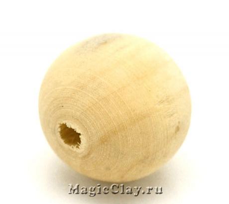 Бусины деревянные Белый Кокос 20мм, 10шт