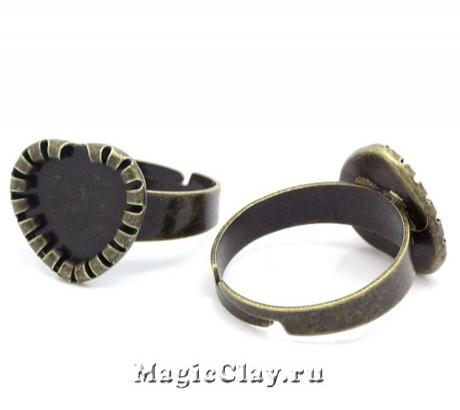 Основа для кольца Резной Кант Сердце, цвет бронза, 1шт