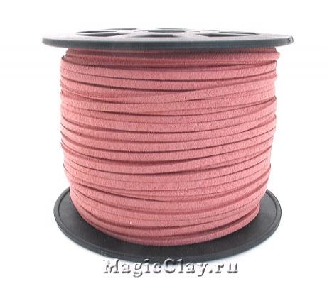 Шнур замшевый 3мм Розовый Тёплый, 5 метров