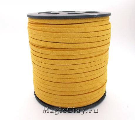 Шнур замшевый 5мм Жёлтый, 5 метров