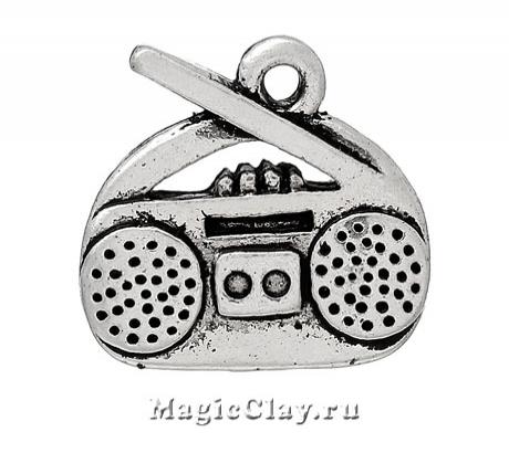 Подвеска Магнитофон 15х14мм, цвет серебро, 1шт