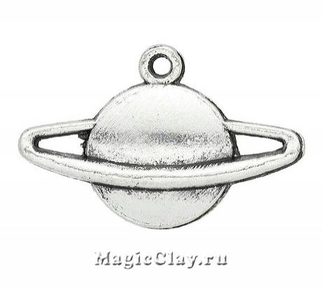 Подвеска Сатурн 13х20мм, цвет серебро, 1шт