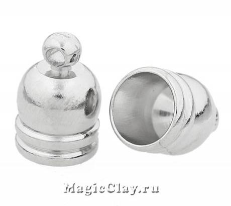 Концевик с ушком, 12х8мм, цвет серебро стальное, 4шт