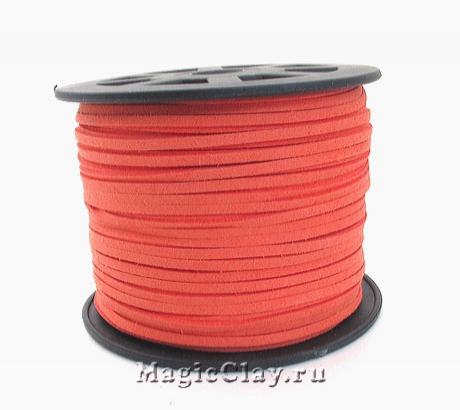 Шнур замшевый 3мм Оранжево-Персиковый, 5 метров