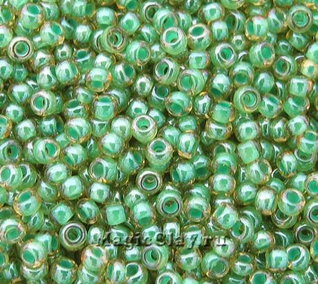 Бисер чешский 10/0 Прозрачный, 31355 Green Lined Topaz, 41гр