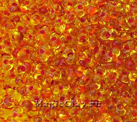 Бисер чешский Farfalle 4х2 Прозрачный, 81093 Orange Lined Orange