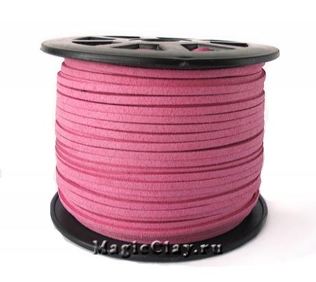 Шнур замшевый 3мм Розовый Горячий, 5 метров
