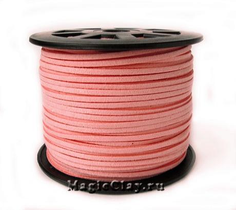 Шнур замшевый 3мм Розовый, 5 метров