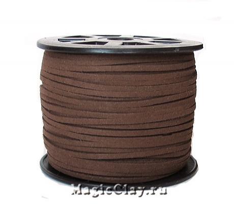 Шнур замшевый 3мм Шоколадный, 5 метров