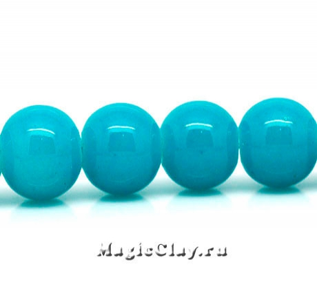 Бусины Глянец Голубой Нефрит 8 мм, 1нить (~50шт)