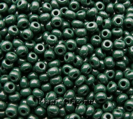 Бисер чешский 10/0 Непрозрачный, 53270 Dark Green, 41гр