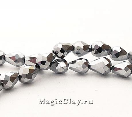 Бусины Капля Серебряные Капли 7х5мм, 1уп (~35шт)