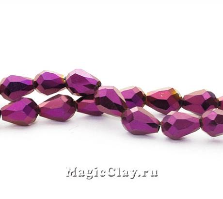 Бусины Капля Пурпурный 7х5мм, 1уп (~35шт)