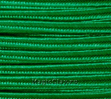 Шнур сутажный 3мм Зелёный, 2метра