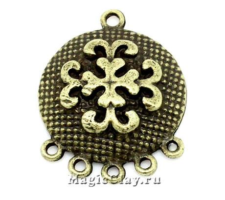 Коннектор Самурай 29х23мм, цвет античная бронза, 1шт
