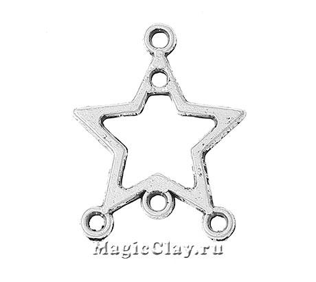 Коннектор Звезда 19х15мм, цвет серебро, 1шт