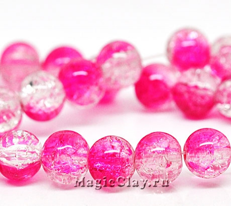 Бусины кракле Розовый Лёд 8мм, 1нить (~50шт)