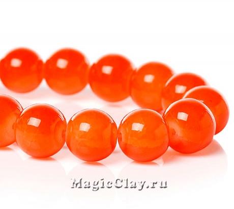 Бусины кракле Опал Апельсиновый 10мм, 1нить (~40шт)