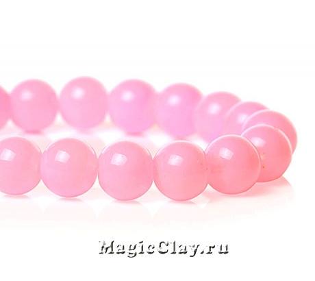Бусины Глянец Розовый Бисквит 8мм, 1нить (~50шт)