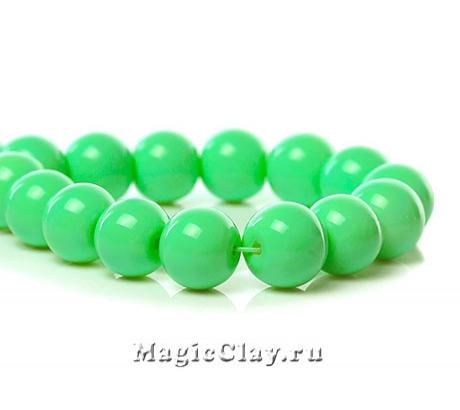 Бусины Глянец Зелёный Листок 10мм, 1нить (~40шт)