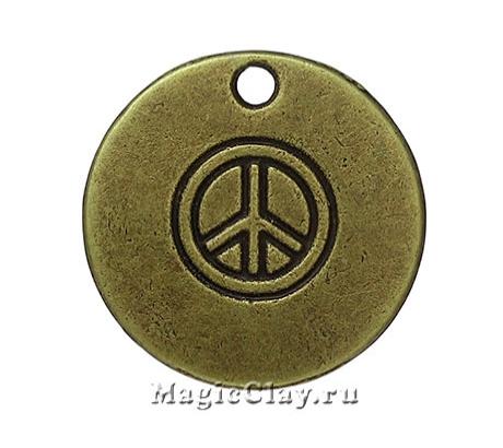 Подвеска Круглая Мир 19мм, цвет античная бронза, 1шт