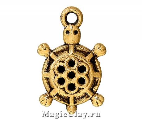 Подвеска Черепаха Мадагаскар 19х12мм, цвет золото, 5шт