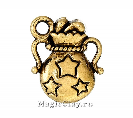 Подвеска Мешочек Счастья 14х12мм, цвет золото, 1шт