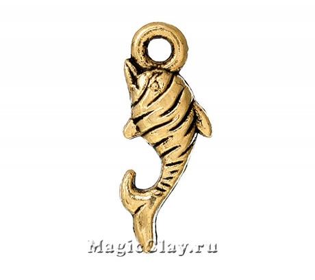 Подвеска Дельфин 17х7мм, цвет золото, 10шт