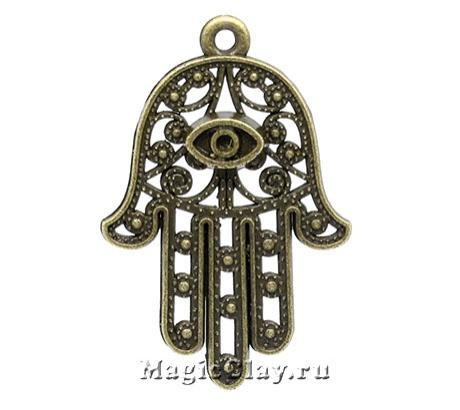 Подвеска Рука Хамсы 42х28мм, цвет античная бронза, 1шт