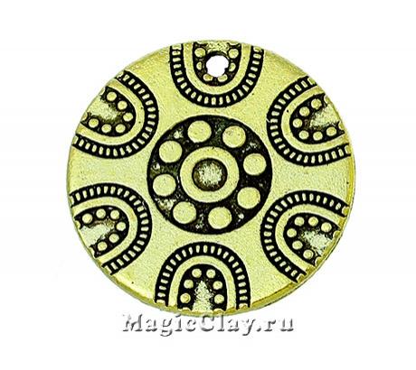 Подвеска Дамаск 19мм, цвет золото, 1шт