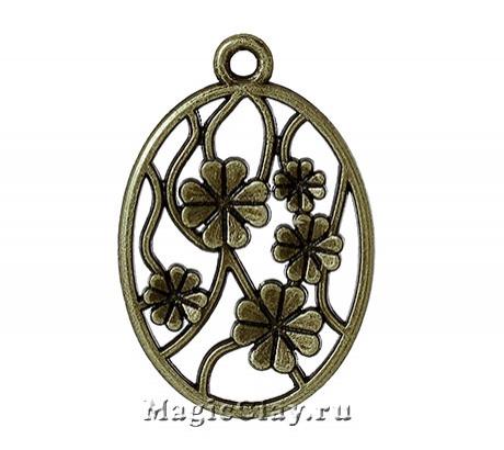 Подвеска Цветочный Сад 32х22мм, цвет античная бронза, 1шт