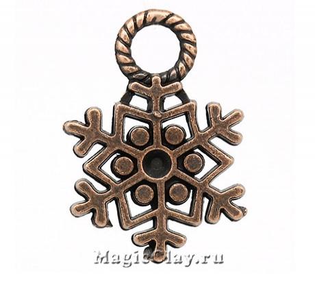 Подвеска Winter Снежинка 21х15мм, цвет медь, 1шт