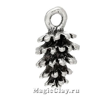 Подвеска Шишка 15х8мм, цвет серебро, 1шт