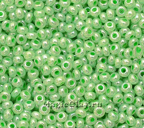Бисер чешский 10/0 Металлик, 37156 Pearl Green, 41гр