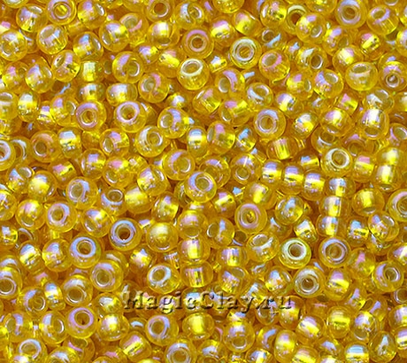 Бисер чешский 10/0 Прозрачный, 87019 Yellow, 41гр