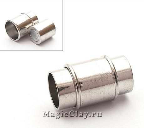 Замок Магнитный для шнуров 8мм отверстие, цвет серебро стальное, 1шт