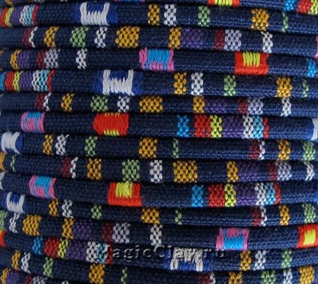 Шнур хлопковый 4мм Синий Лабиринт, 1 метр