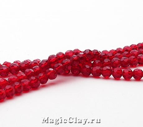 Бусины Граненые Рубиновый Блеск 4мм, 1нить (~100шт)