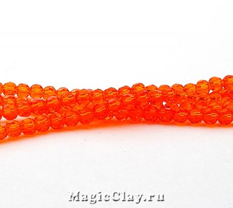 Бусины Граненые Сочный Апельсин 4мм, 1нить (~100шт)