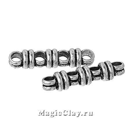 Разделитель на 4 нити Кольцо 27х6мм, цвет серебро, 6шт
