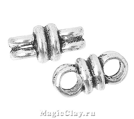 Разделитель на 2 нити Кольцо 13х6мм, цвет серебро, 6шт