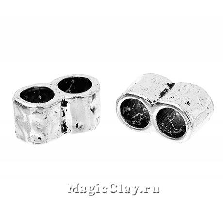 Разделитель на 2 нити Тубус 15х8мм, цвет серебро, 6шт