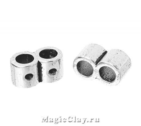 Разделитель на 2 нити Тубус Малый 10х5мм, цвет серебро, 6шт