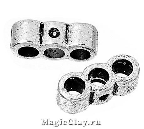 Разделитель на 3 нити Тубус Малый 14х5мм, цвет серебро, 6шт