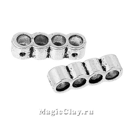 Разделитель на 4 нити Тубус Малый 18х5мм, цвет серебро, 6шт