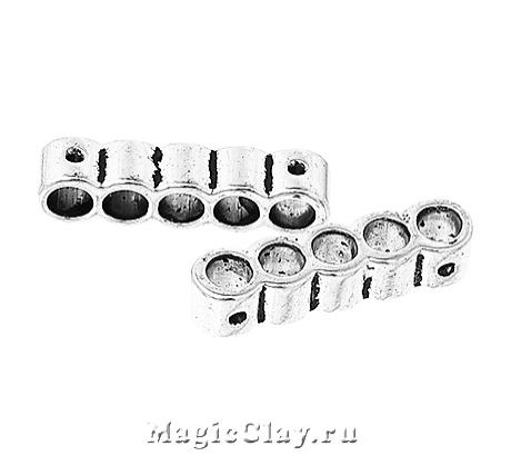 Разделитель на 5 нитей Тубус Малый 22х5мм, цвет серебро, 6шт