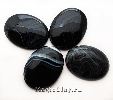 Кабошон  Агат Овал 40х30х5мм, цвет Черный
