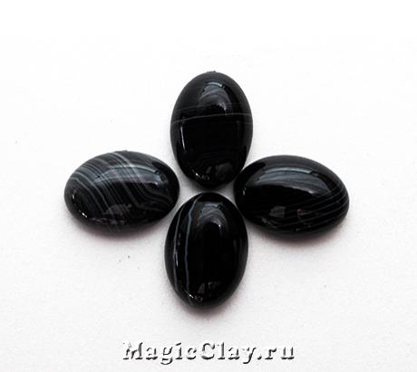 Кабошон Агат Овал 14х10х5мм, цвет Черный