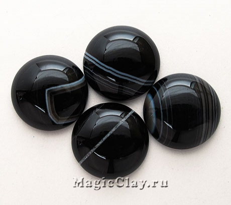 Кабошон Агат Круг 20х6мм, цвет Черный