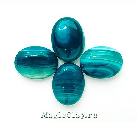 Кабошон Агат Овал 20х15х5мм, цвет Голубой